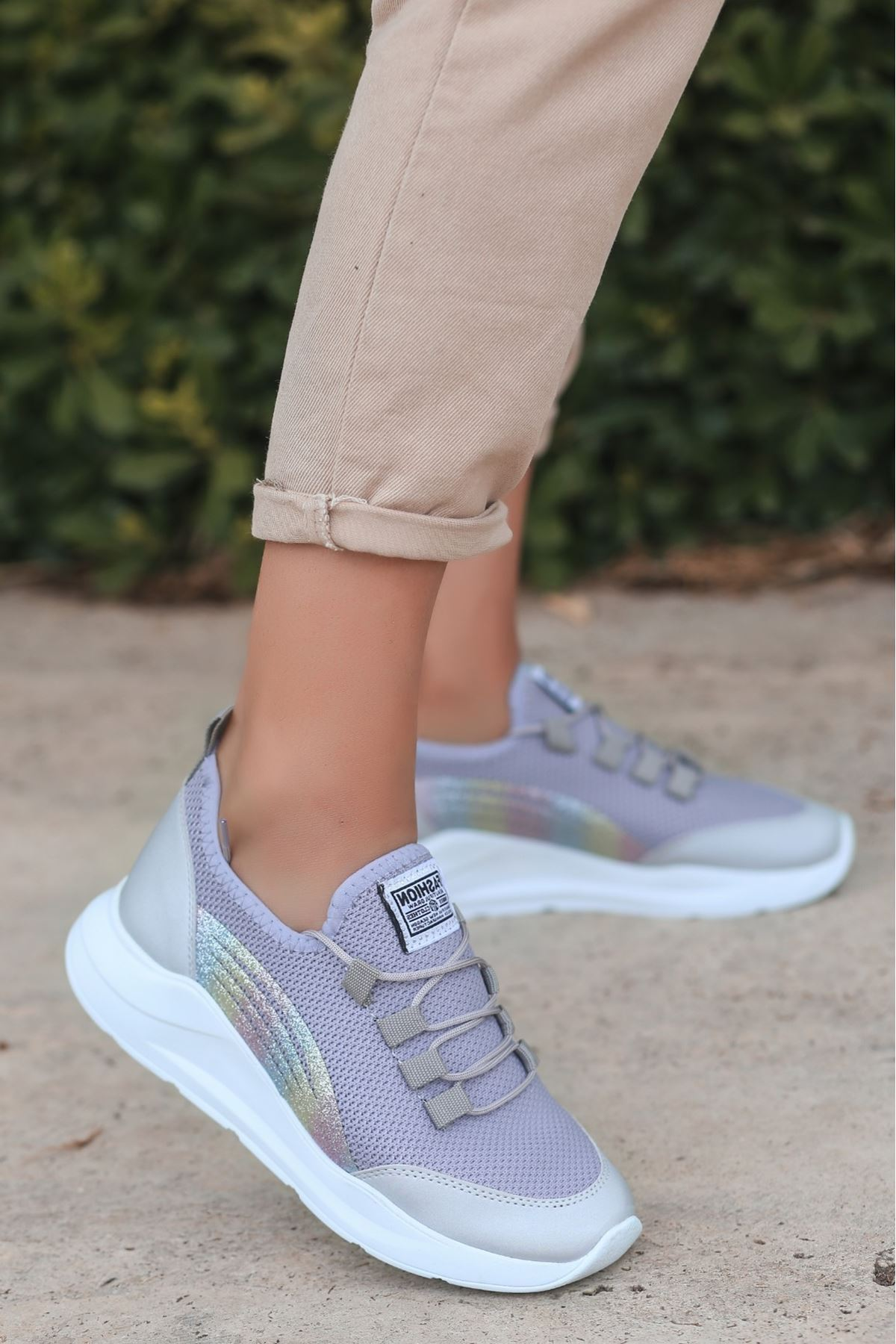 Crid Gri Cilt Bağcıklı Spor Ayakkabı