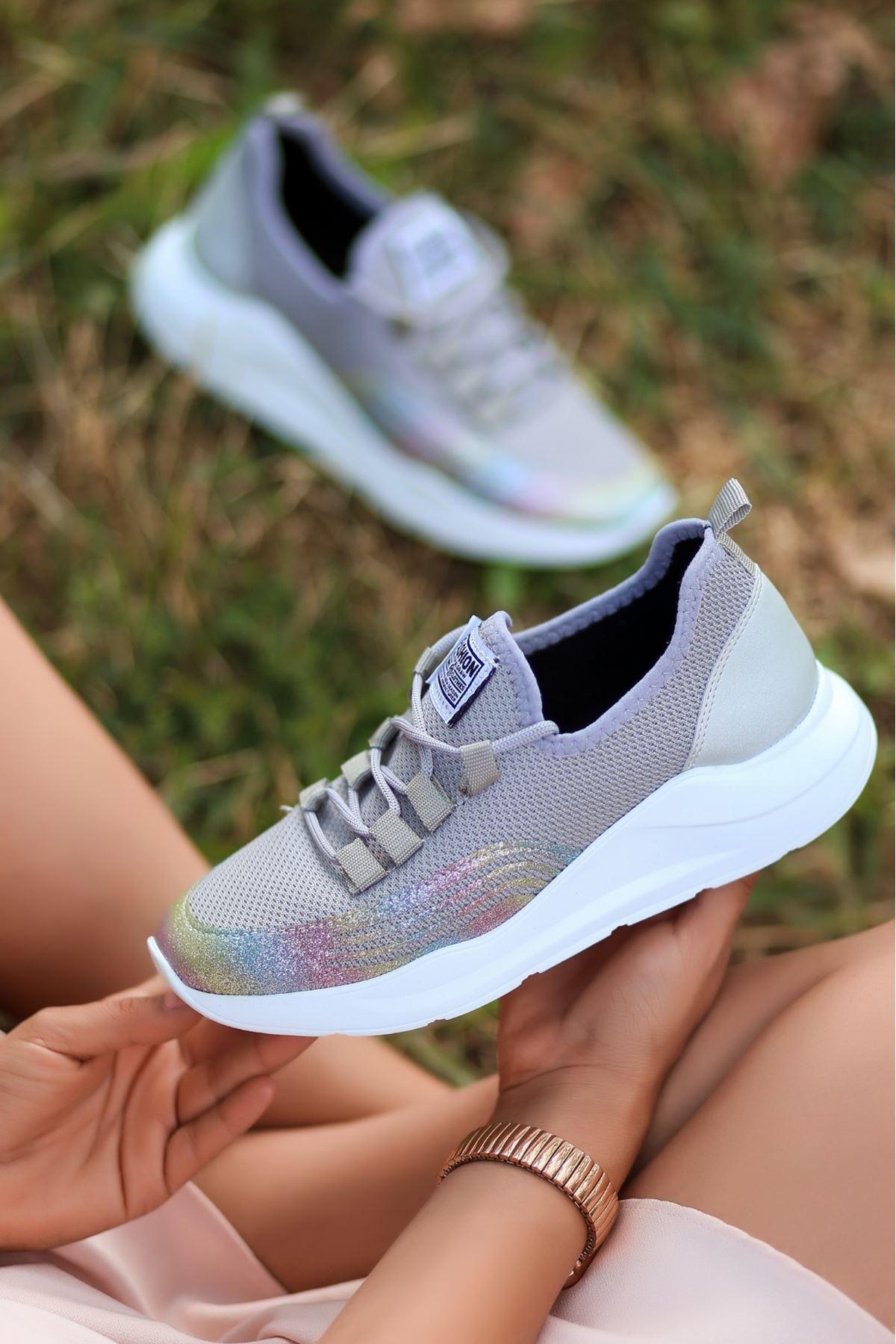 Crid Gri Bağcıklı Spor Ayakkabı
