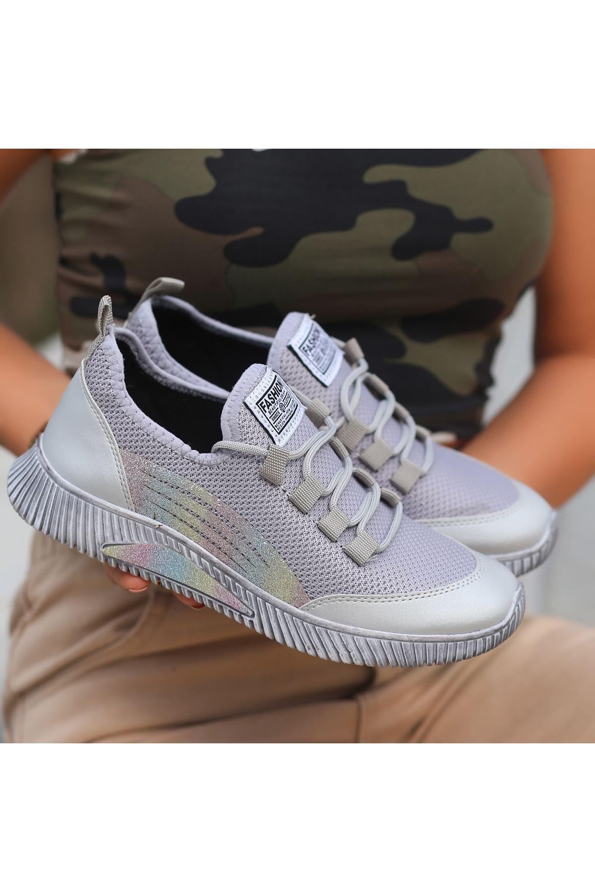İlwa Gri Cilt Bağcıklı Spor Ayakkabı