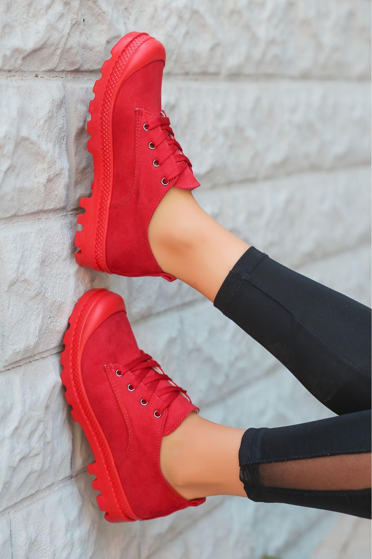 Mash Kırmızı Süet Bağcıklı Spor Ayakkabı
