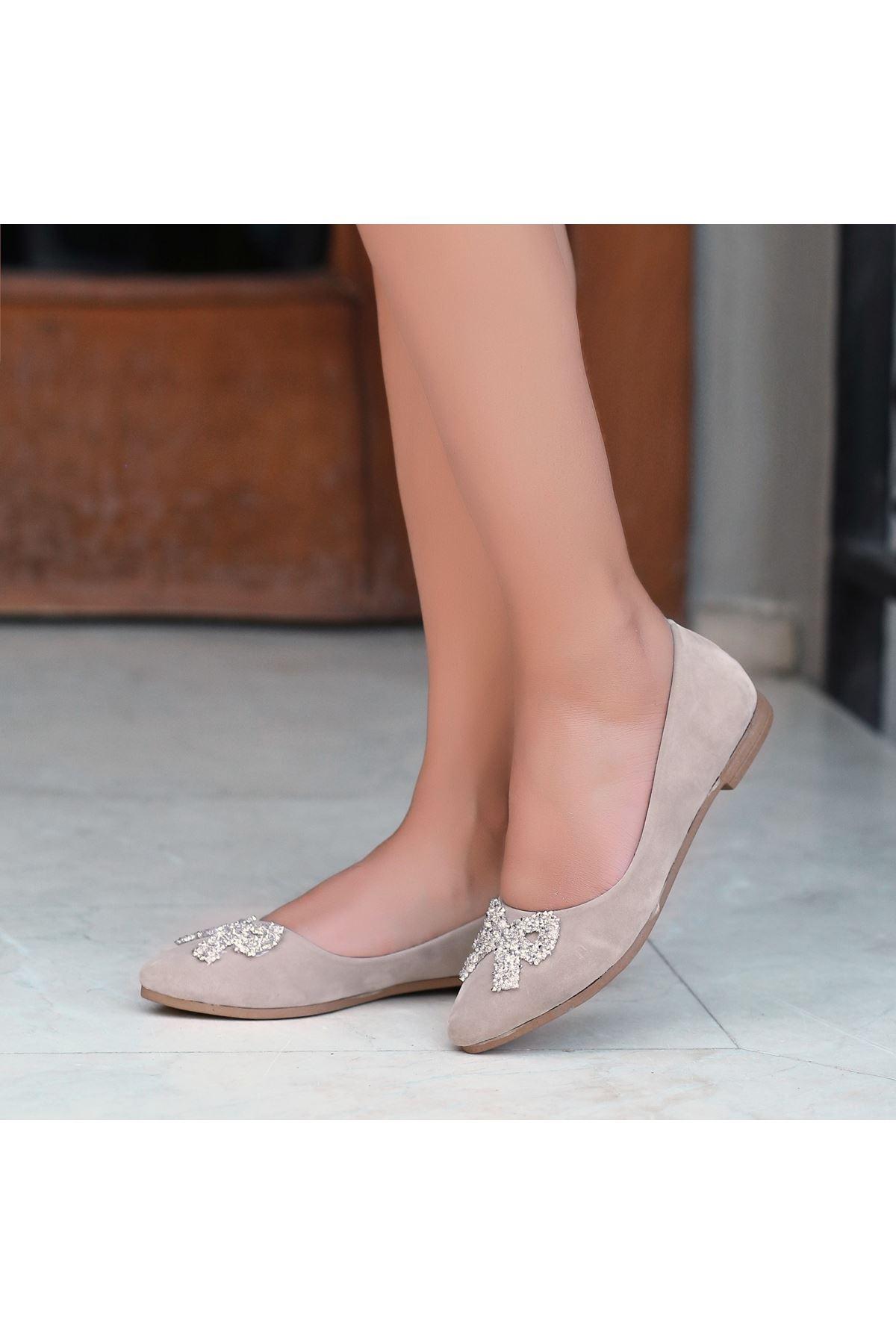 Jian Vizon Süet Fiyonklu Babet Ayakkabı