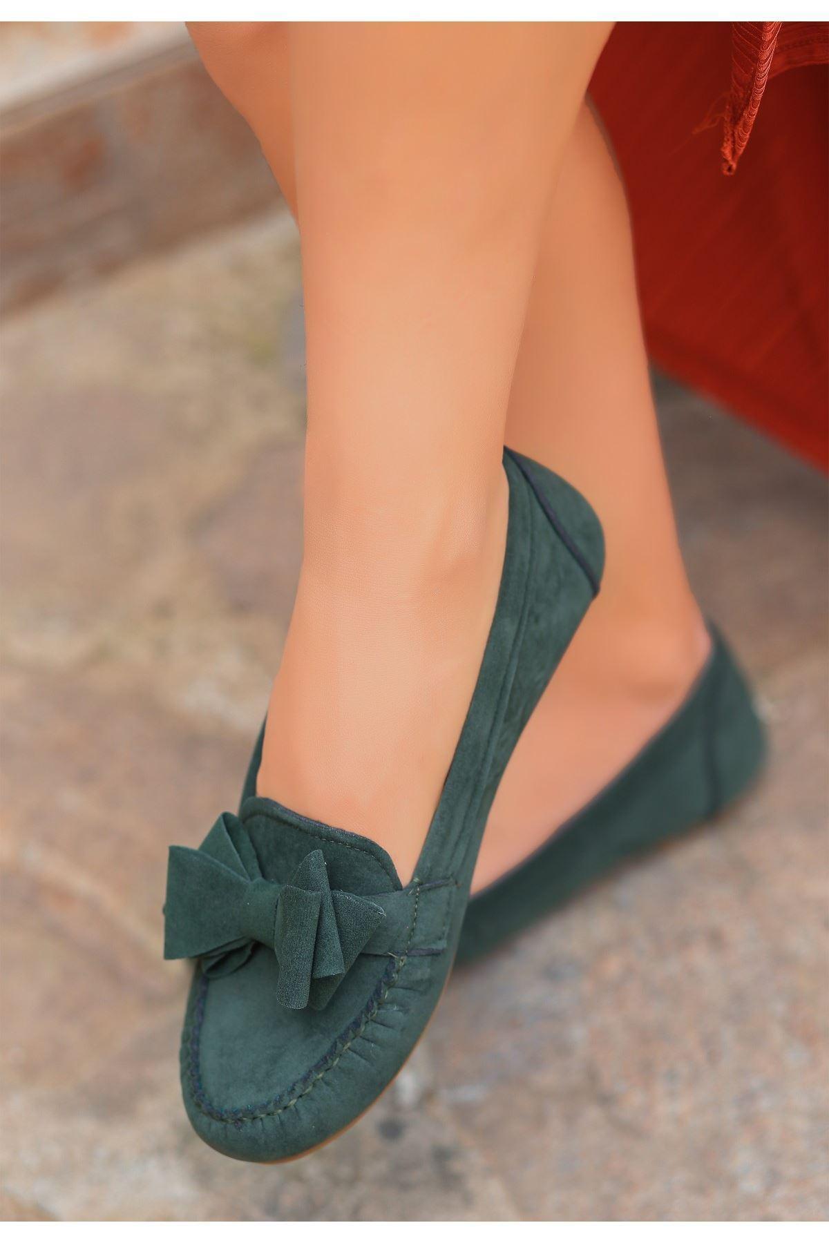 Fuax Haki Süet Fiyonklu Babet Ayakkabı
