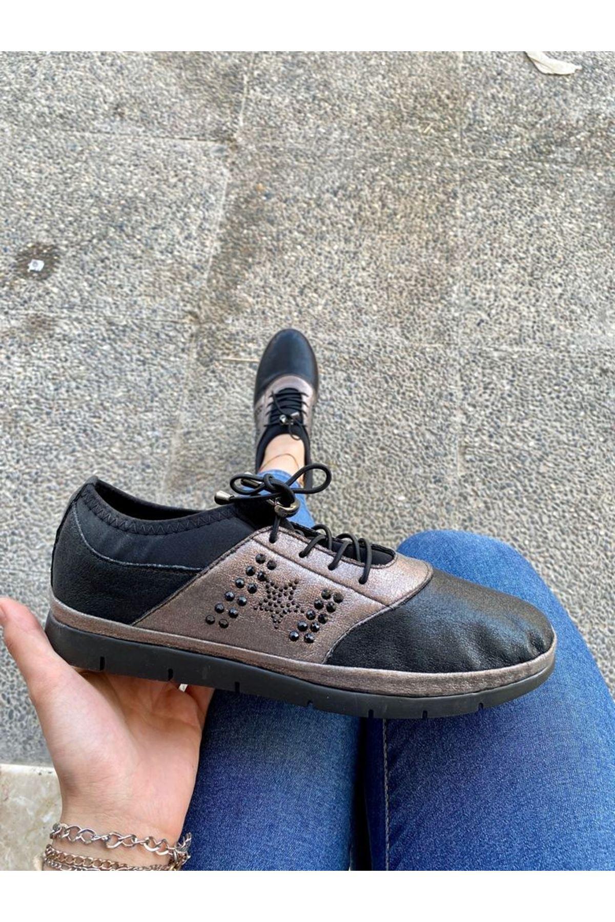 Oris 4 Platin Cilt Boncuklu Bağcıklı Spor Ayakkabı