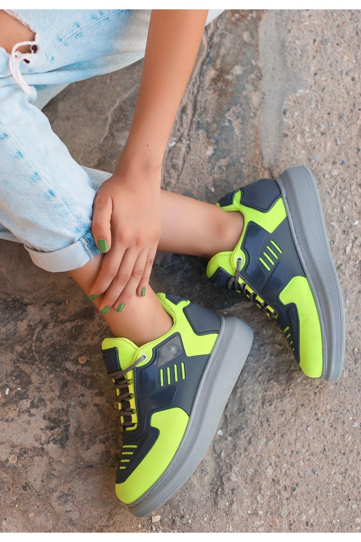 Wijer Neon Yeşil Cilt Spor Ayakkabı