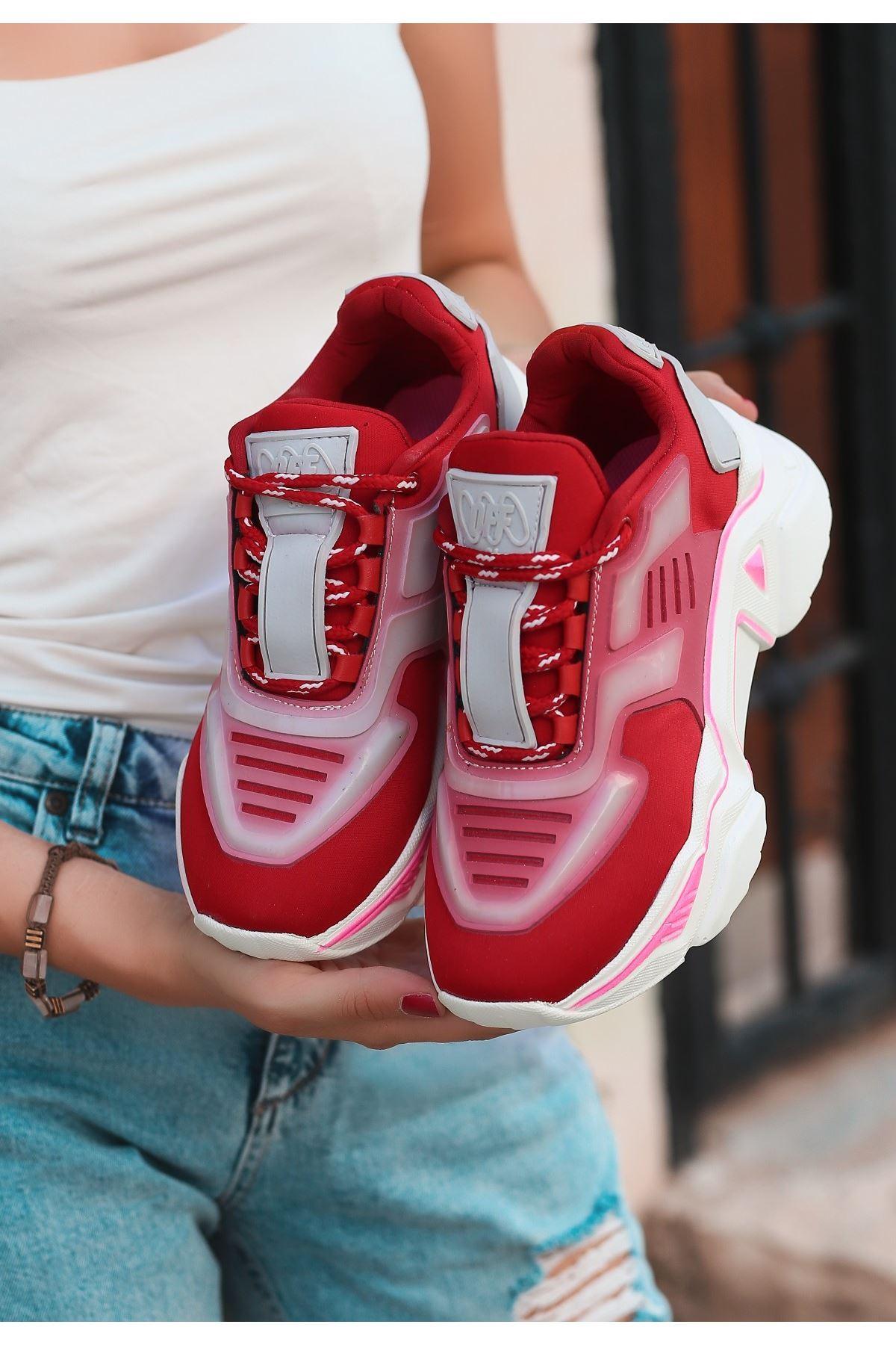 Odia Kırmızı Bağcıklı Spor Ayakkabı