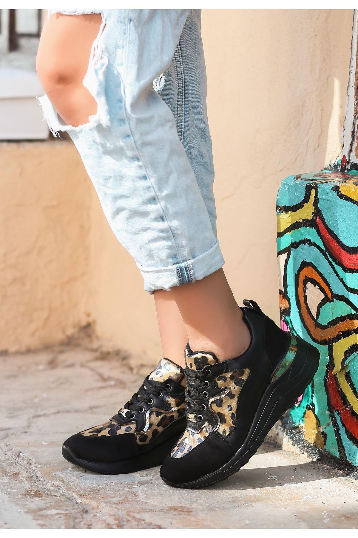 Tius Siyah Süet Leopar Detaylı Spor Ayakkabı
