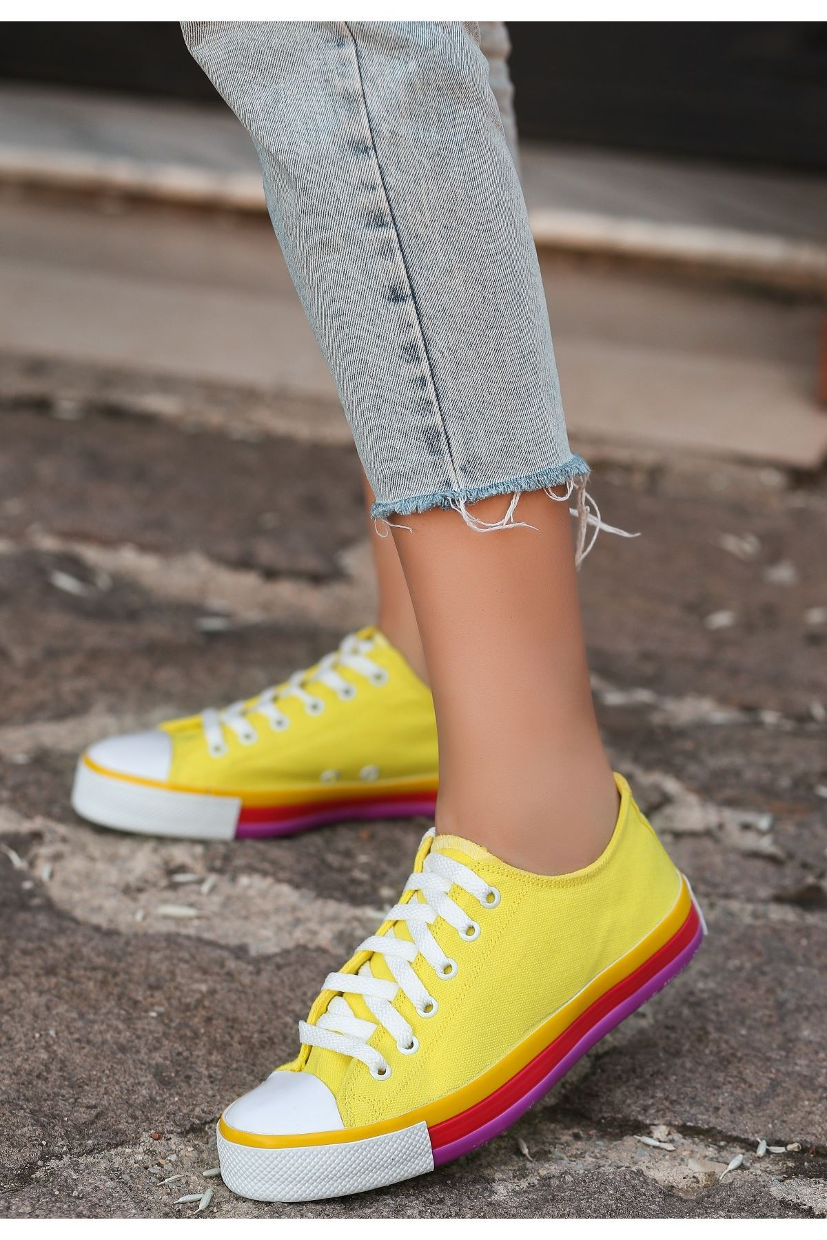 Momi Sarı Keten Spor Ayakkabı
