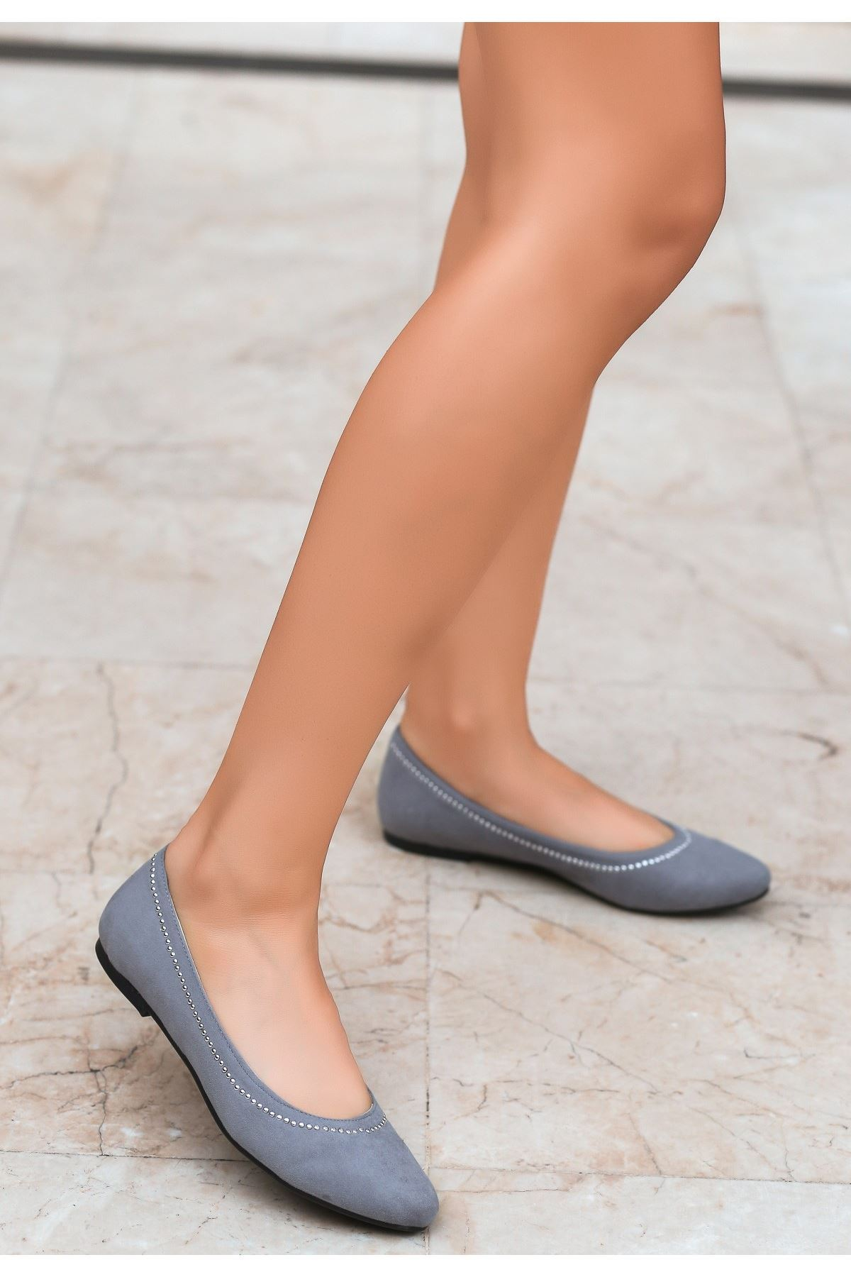 Owry Gri Süet Babet Ayakkabı