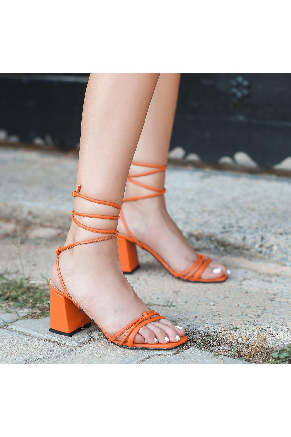 Jost Turuncu Cilt Topuklu Ayakkabı