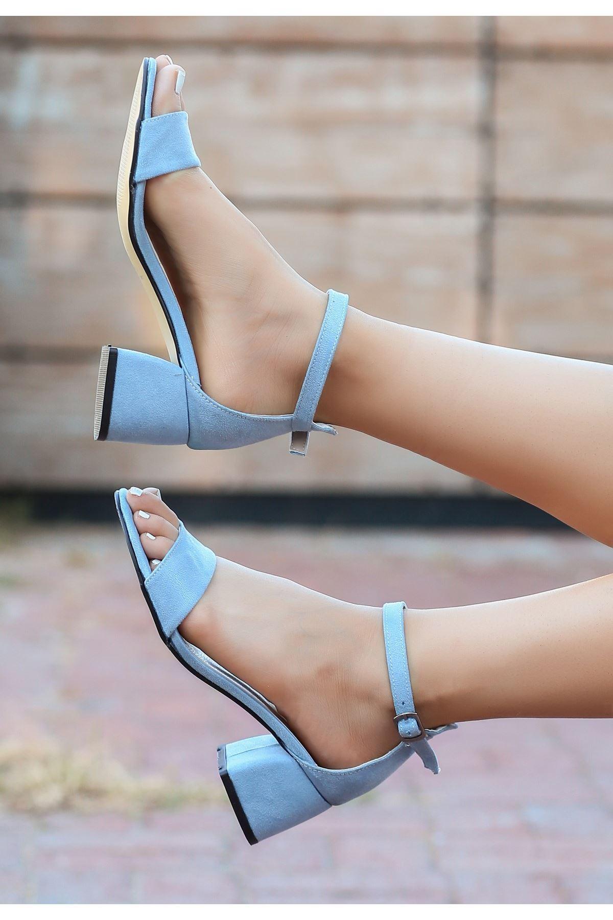 Epon Bebe Mavisi Süet Tek Bant Topuklu Ayakkabı