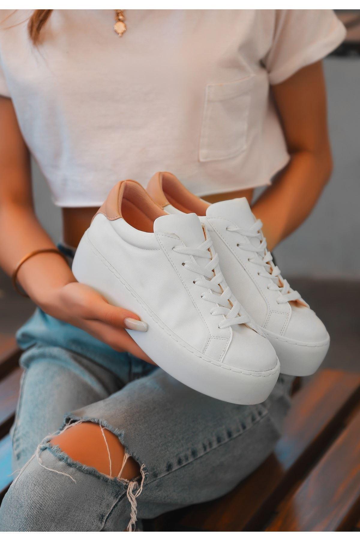 İmon Beyaz Cilt Pudra Detaylı Spor Ayakkabı