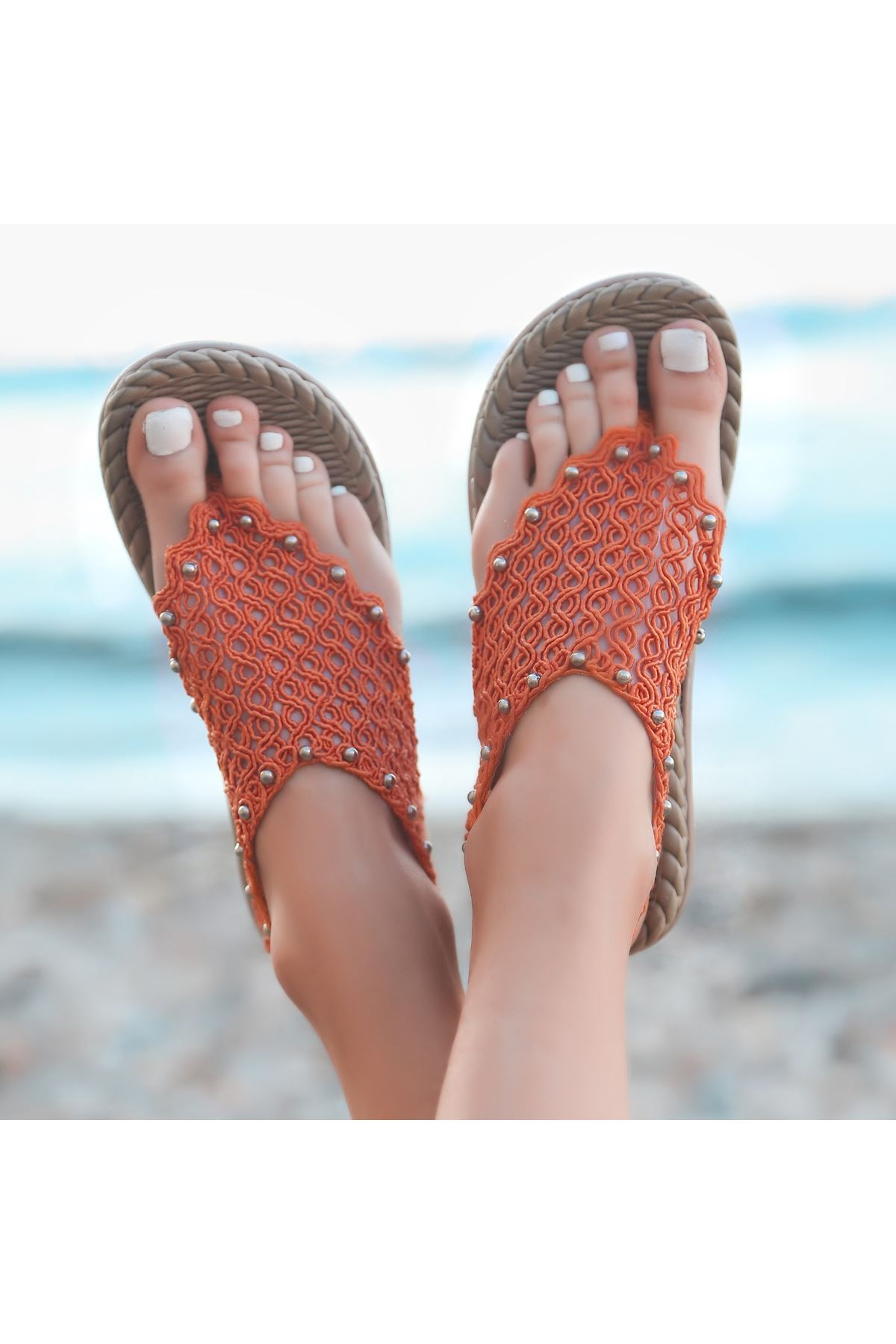Mipa Turuncu Örgülü Sandalet