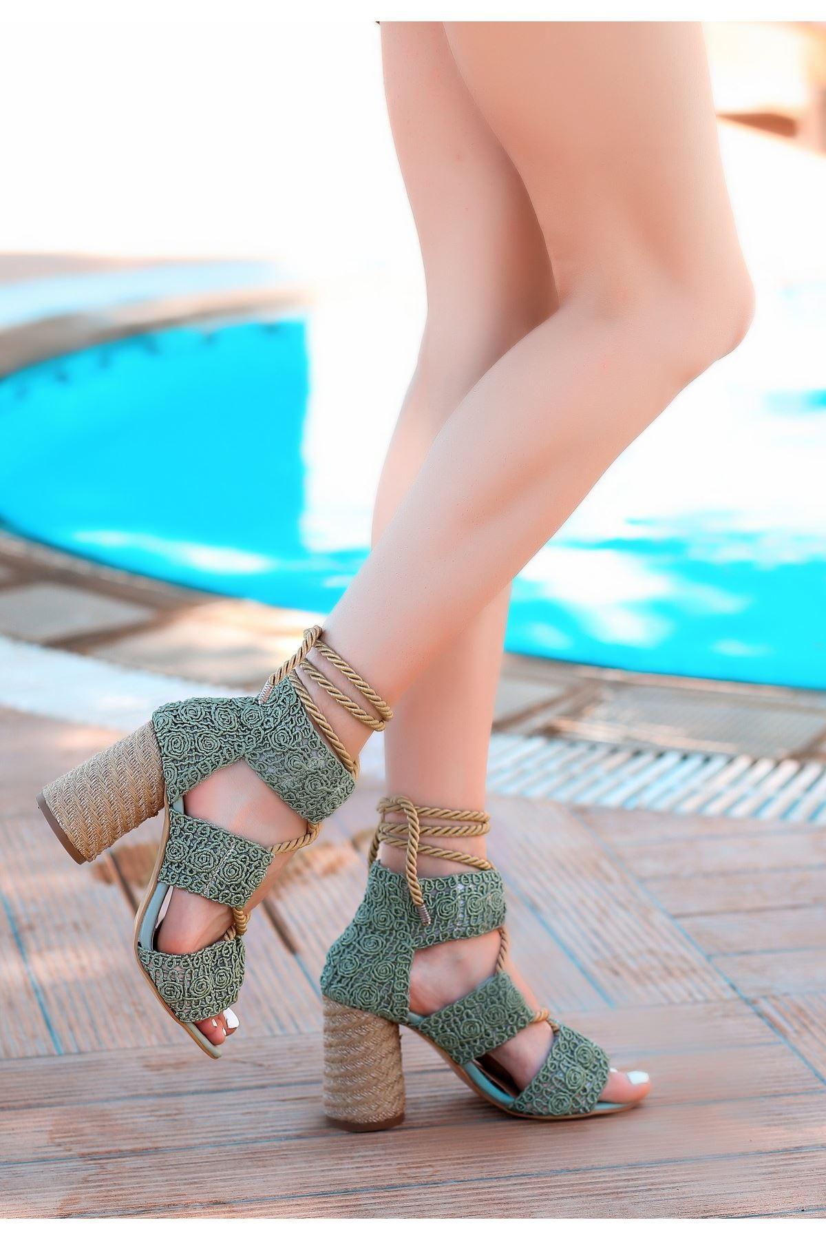 Esto Mint Yeşili Örgülü Topuklu Ayakkabı