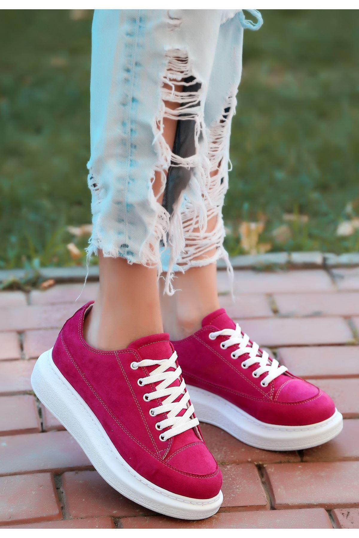 Tija  Fuşya Süet Bağcıklı Spor Ayakkabı
