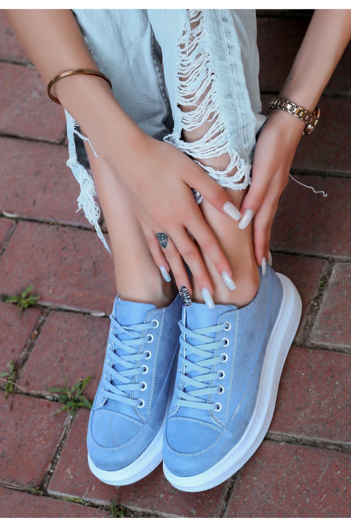 Tija Bebe Mavisi Süet Bağcıklı Spor Ayakkabı