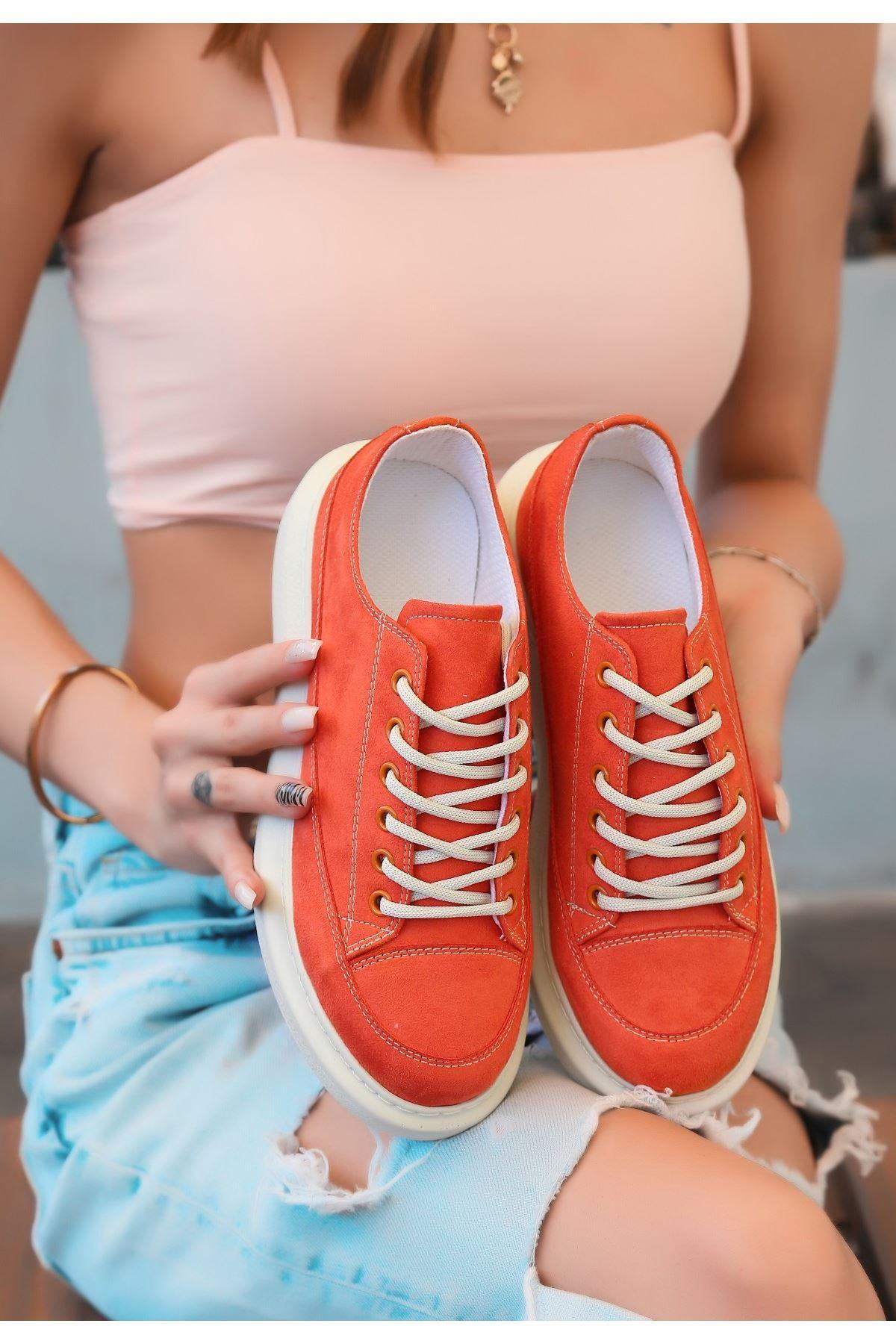 Tija Turuncu Süet Bağcıklı Spor Ayakkabı