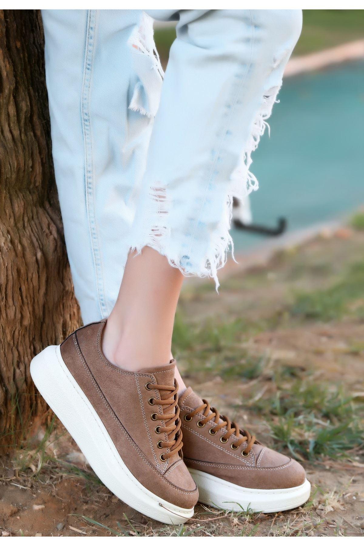 Tija Koyu Vizon Süet Bağcıklı Spor Ayakkabı