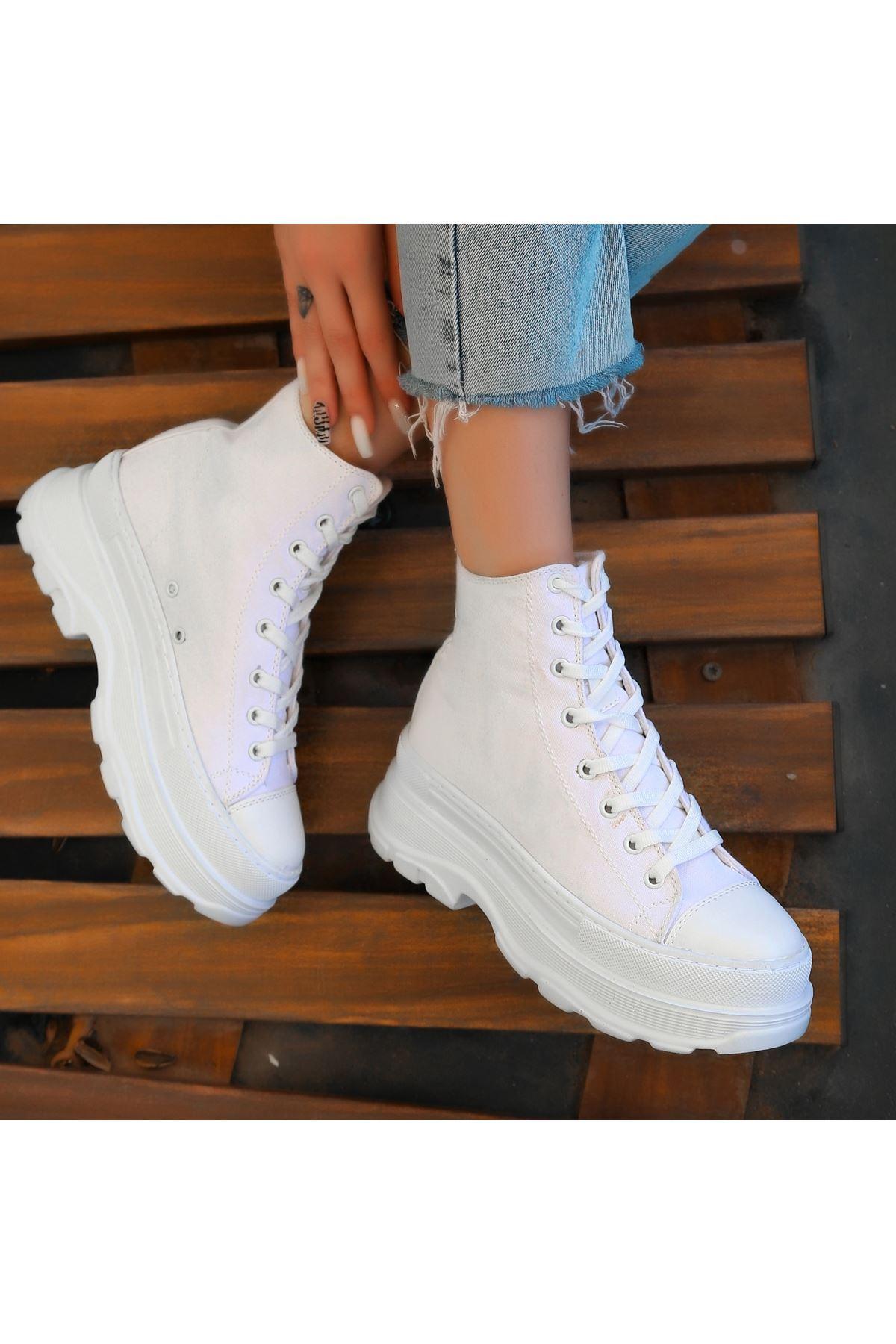 Vusi Beyaz Keten Bağcıklı Spor Ayakkabı