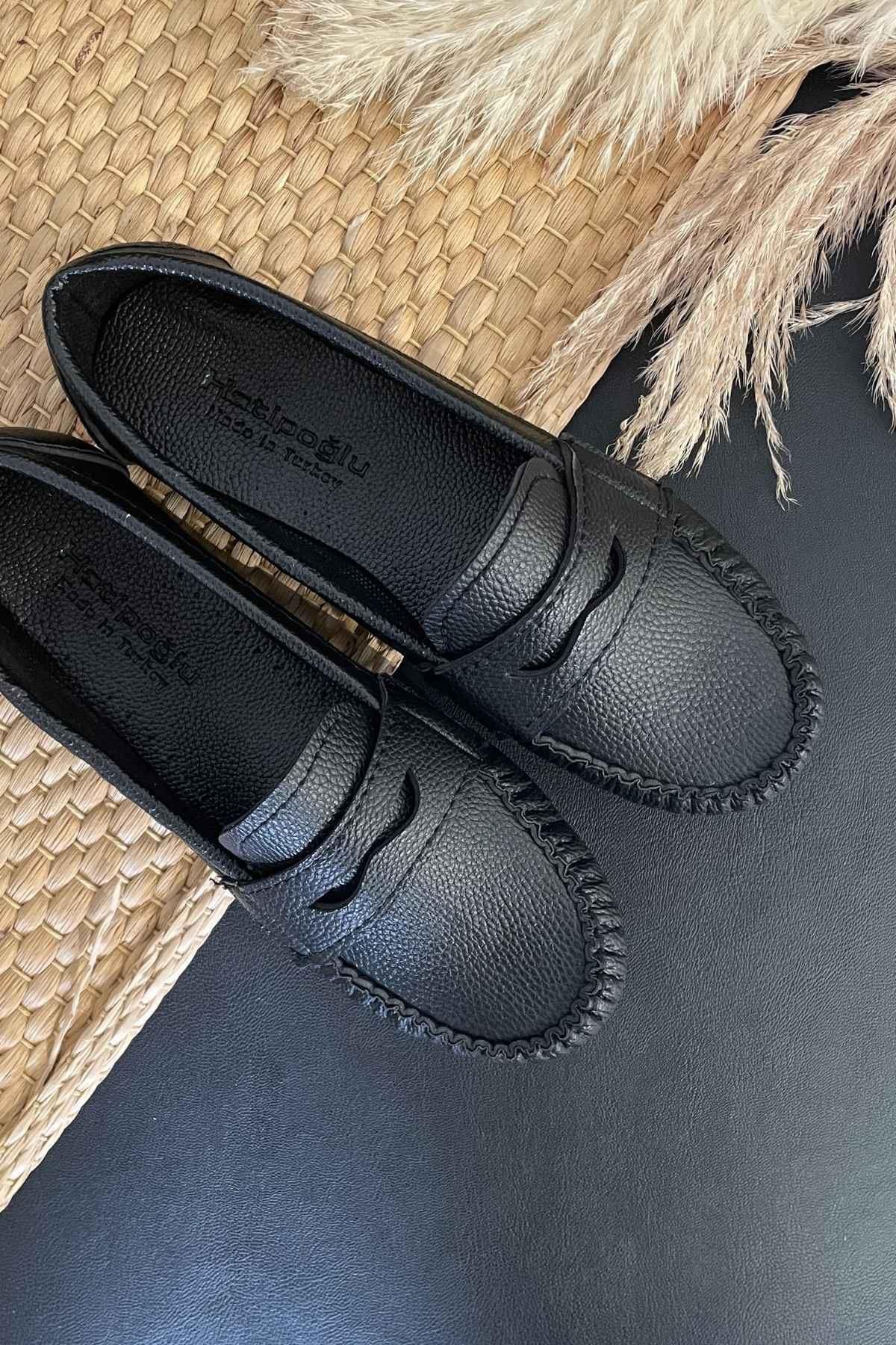 Sohe Siyah Deri Mokasen Rok Babet Ayakkabı