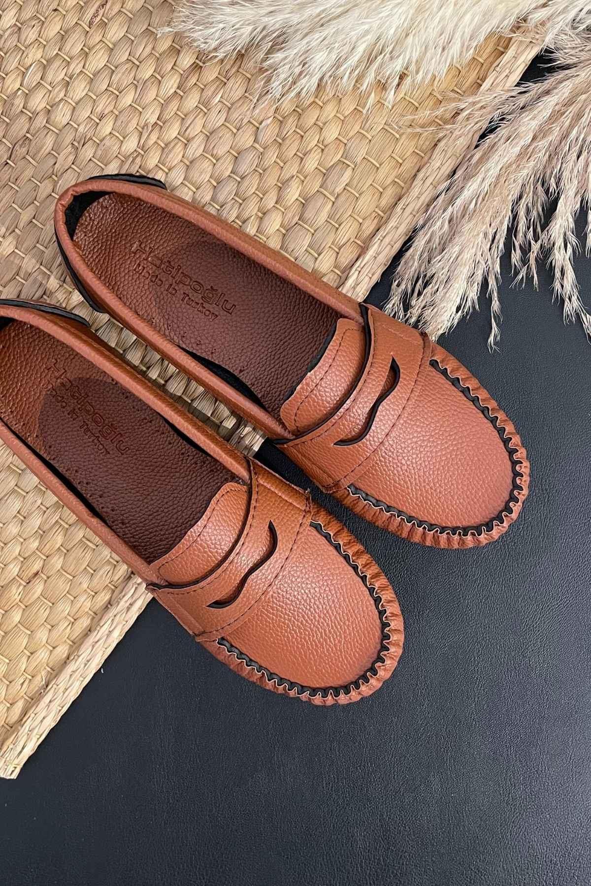 Sohe Taba Deri Mokasen Rok Babet Ayakkabı