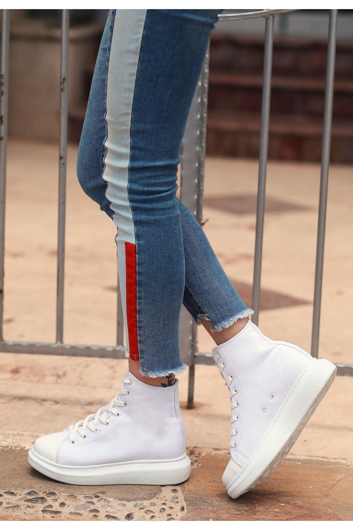 Urya Beyaz Keten Bağcıklı Spor Ayakkabı