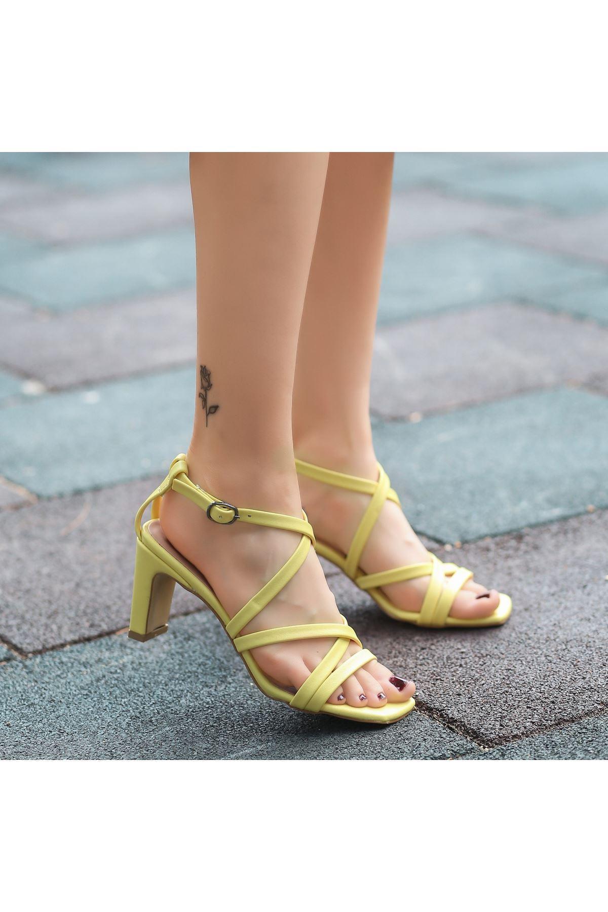 Utic Sarı Cilt Topuklu Ayakkabı