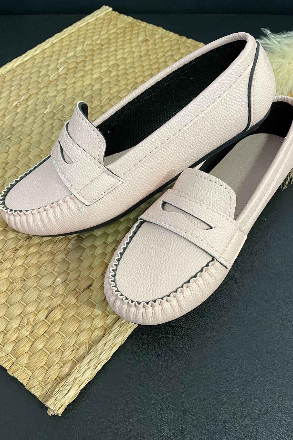 Sohe Pudra Deri Mokasen Rok Babet Ayakkabı