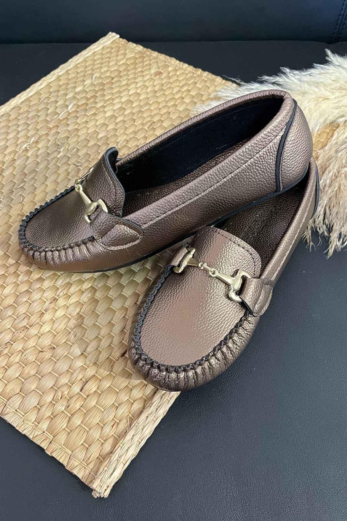 Soho Bakır Deri Tokalı Rok Babet Ayakkabı