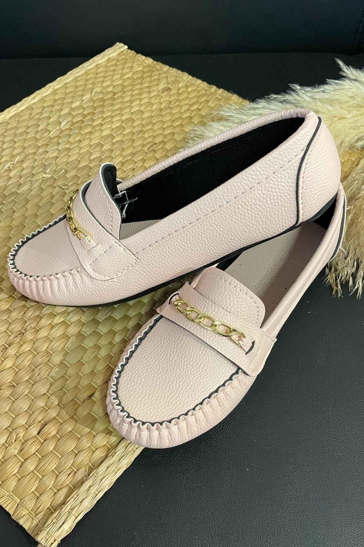 Sohi Pudra Deri Zincirli Rok Babet Ayakkabı