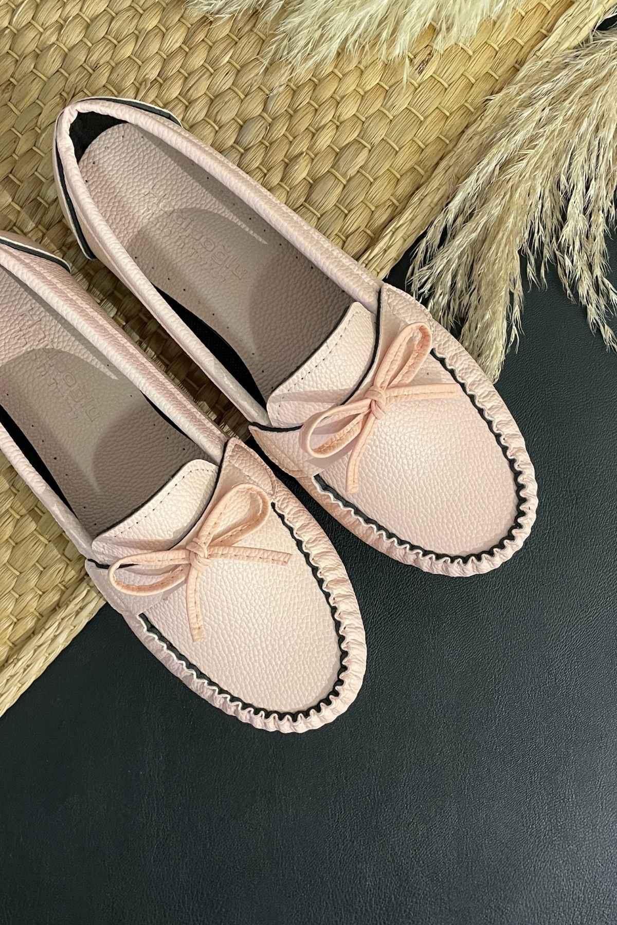 Soha Pudra Deri Fiyonklı Rok Babet Ayakkabı