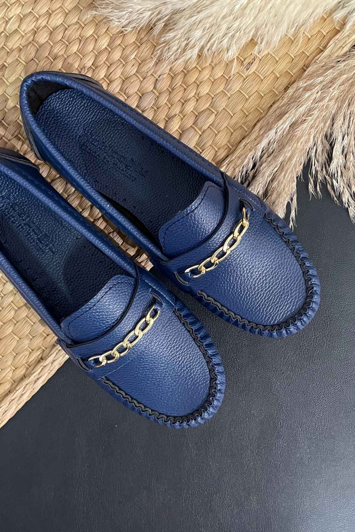 Sohi Lacivert Deri Zincirli Rok Babet Ayakkabı