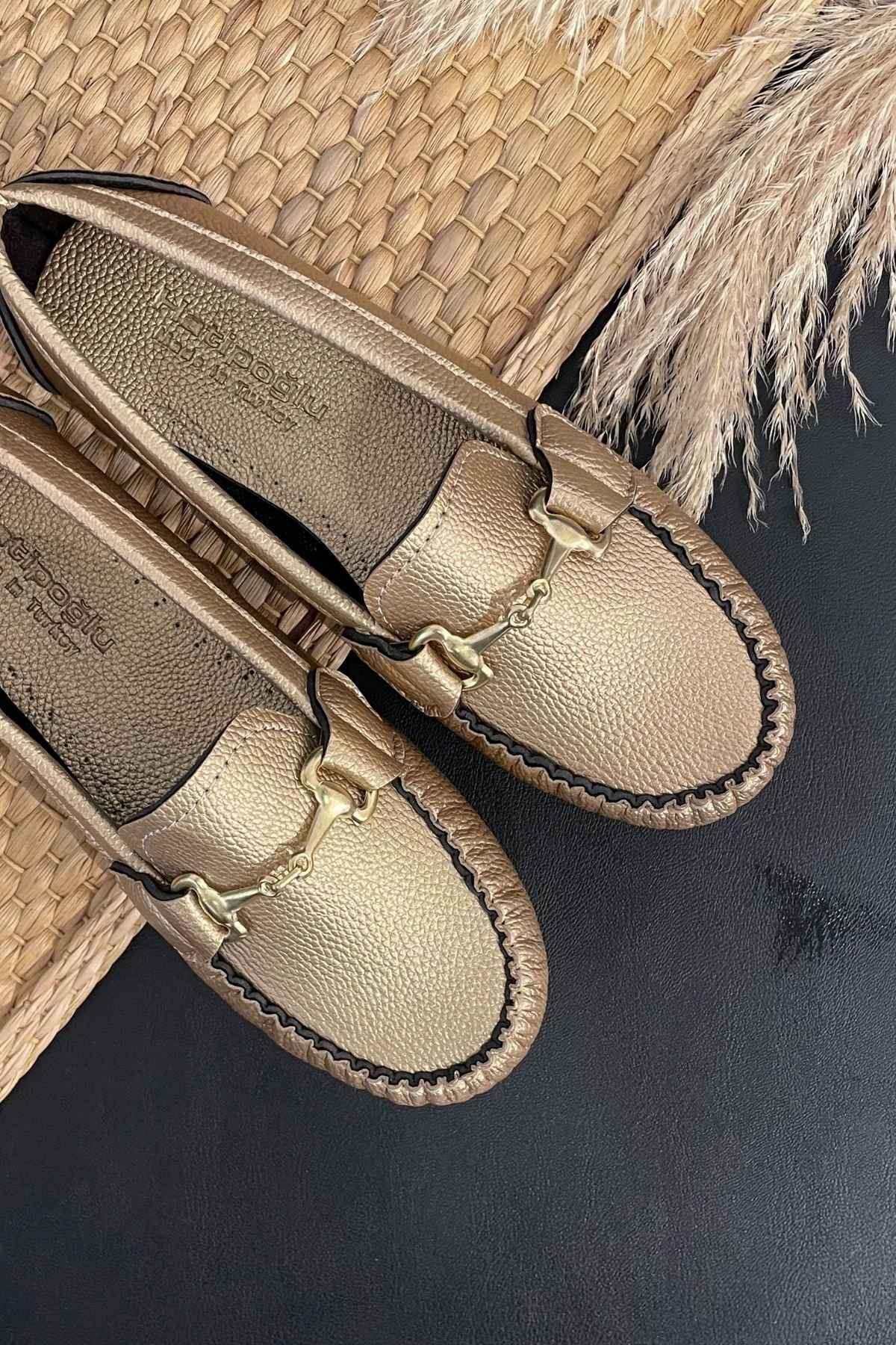Soho Altın Deri Tokalı Rok Babet Ayakkabı