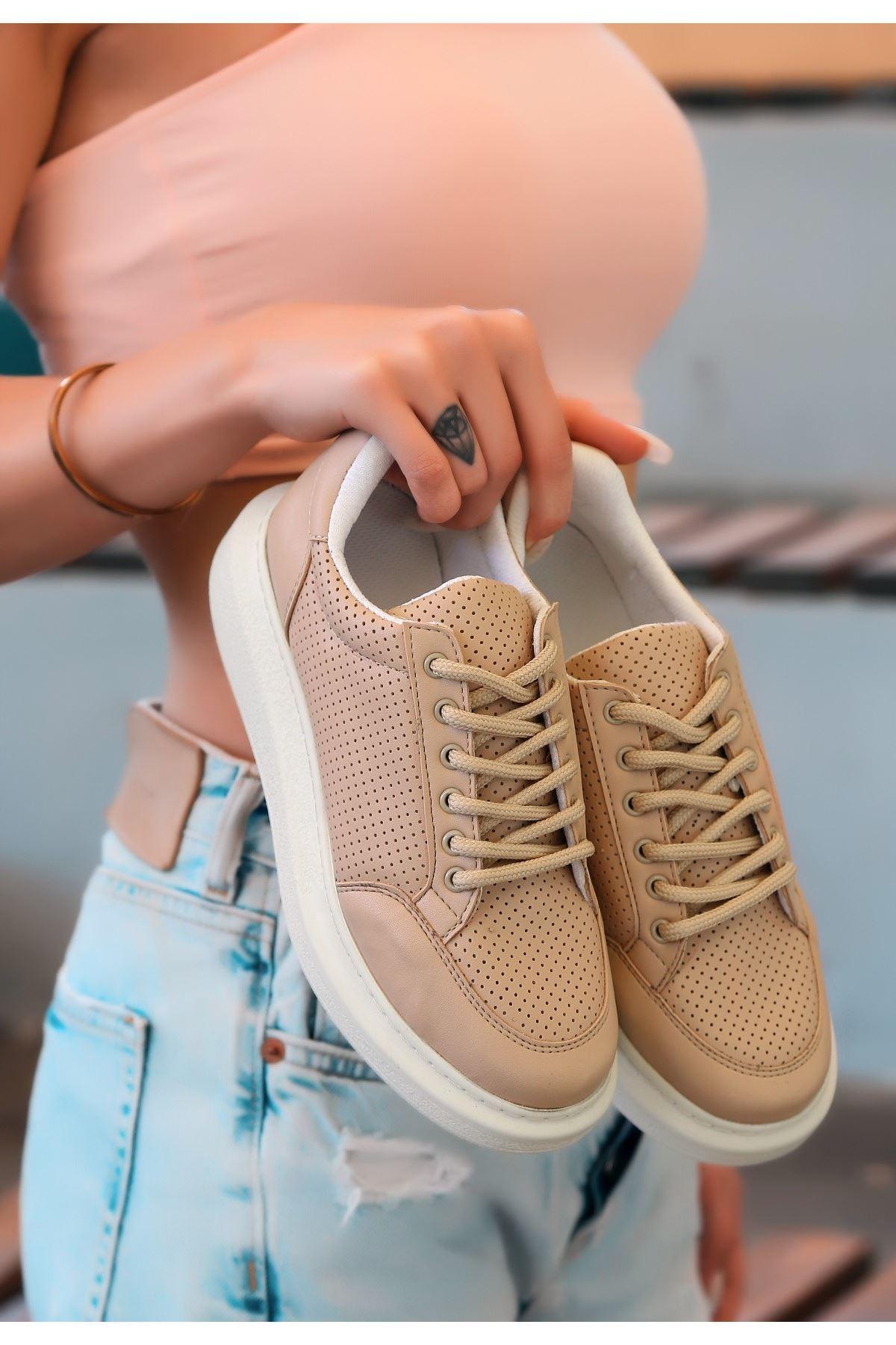 Tija Vizon Cilt Fileli Bağcıklı Spor Ayakkabı