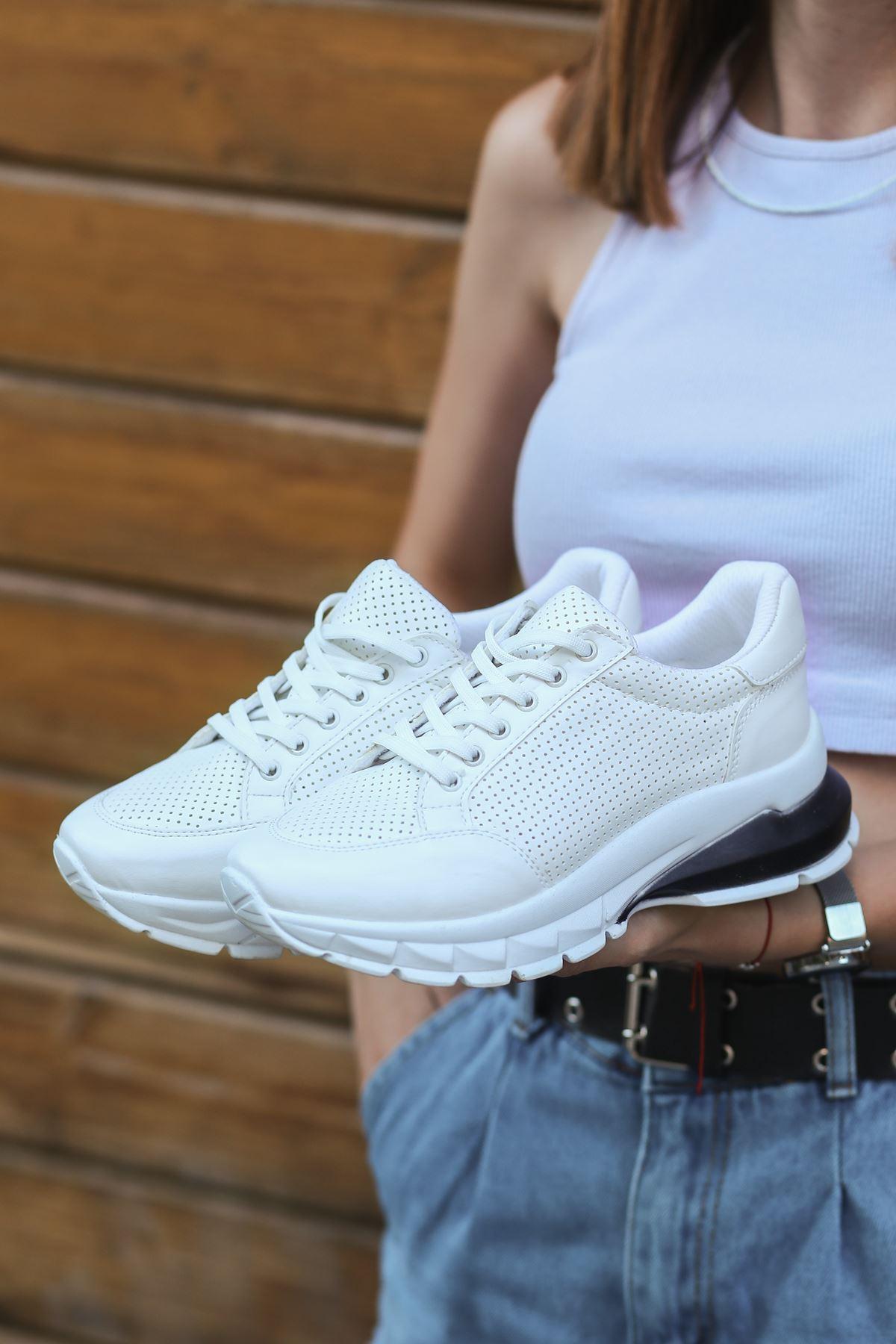 Abel Beyaz Cilt Bağcıklı Spor Ayakkabı