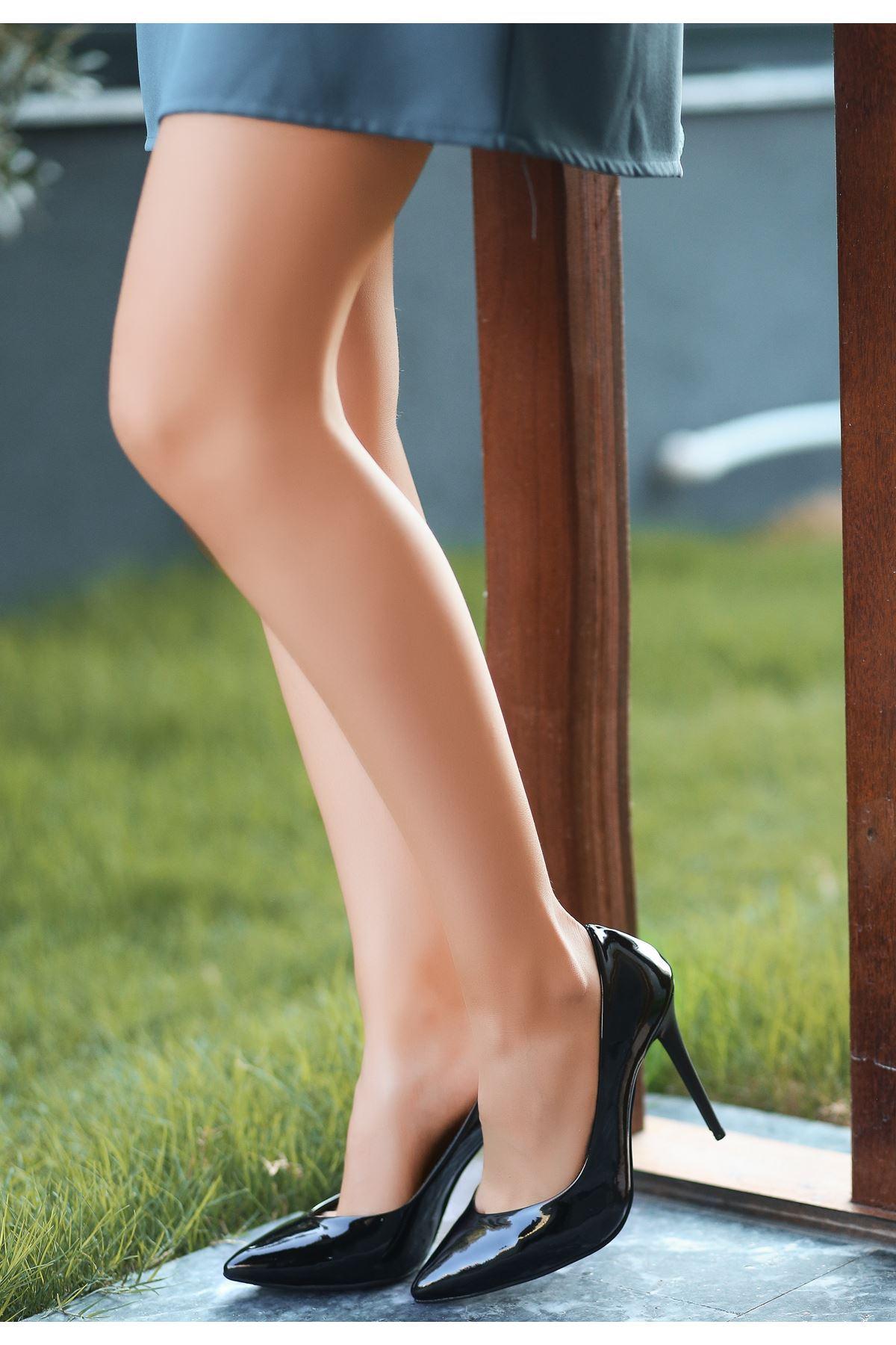 Nocix Siyah Rugan Stiletto Ayakkabı