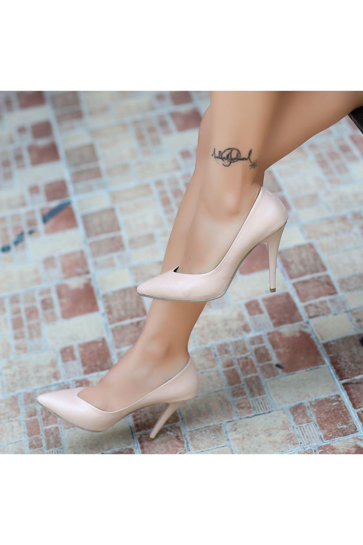 Nocix Krem Cilt Stiletto Ayakkabı