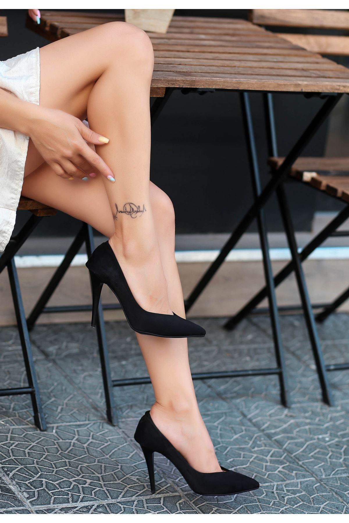 Nocix Siyah Süet Stiletto Ayakkabı