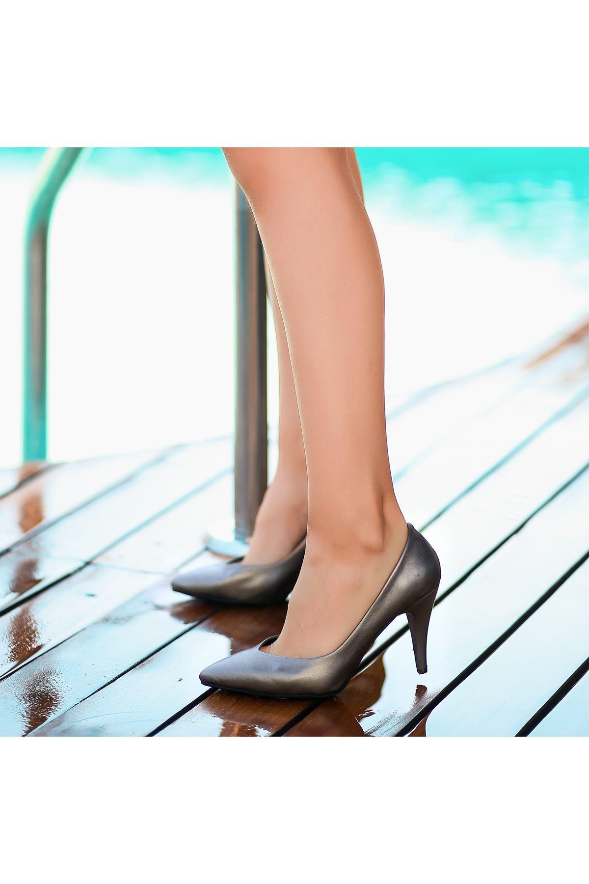Xina Platin Cilt  Topuklu Ayakkabı