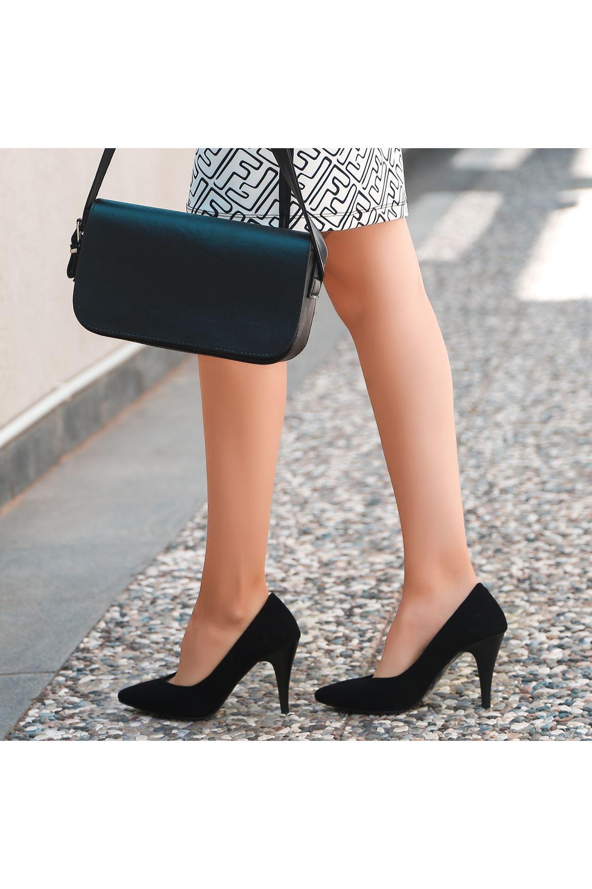 Xina Siyah Süet Topuklu Ayakkabı