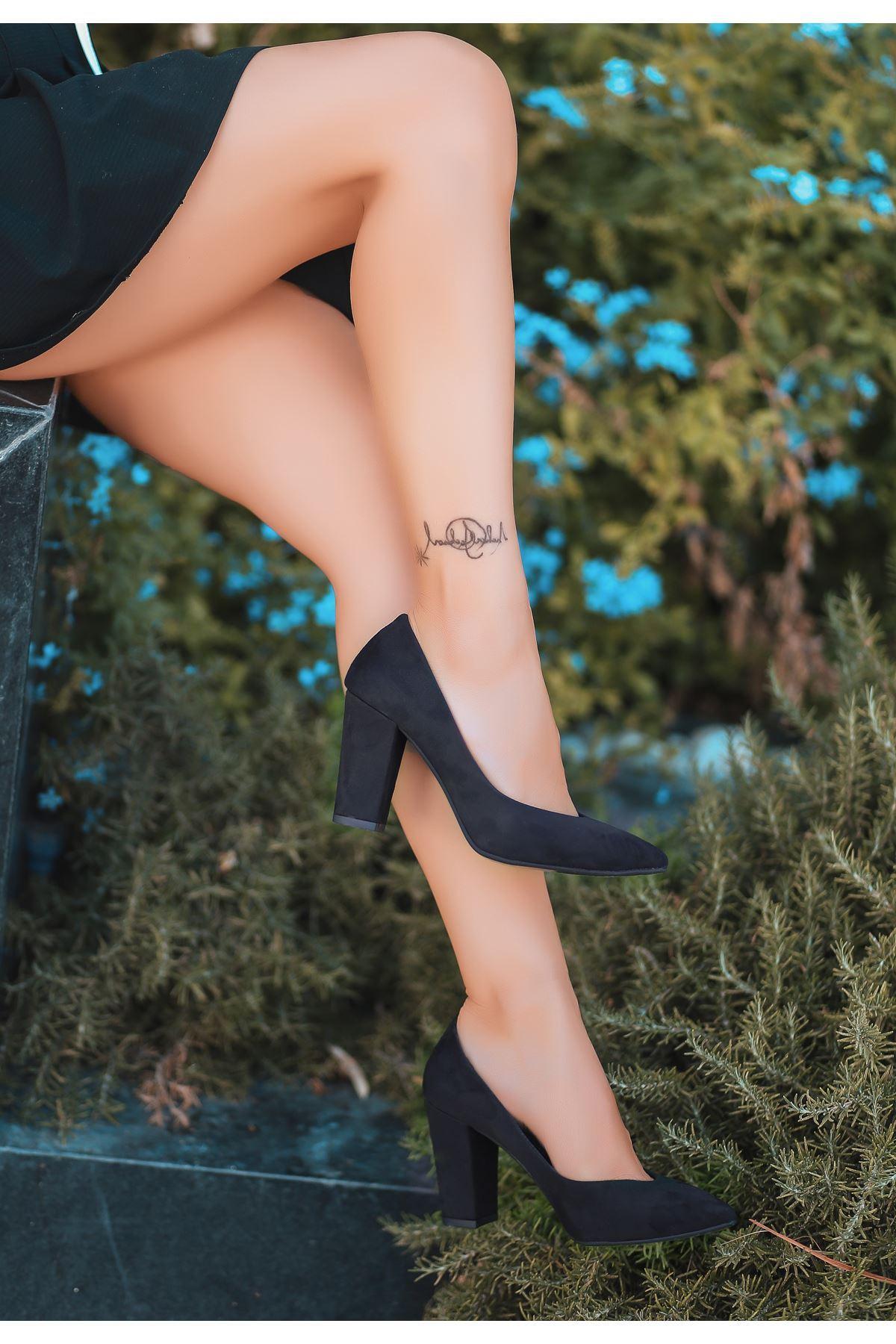 Odix Siyah Süet Topuklu Ayakkabı