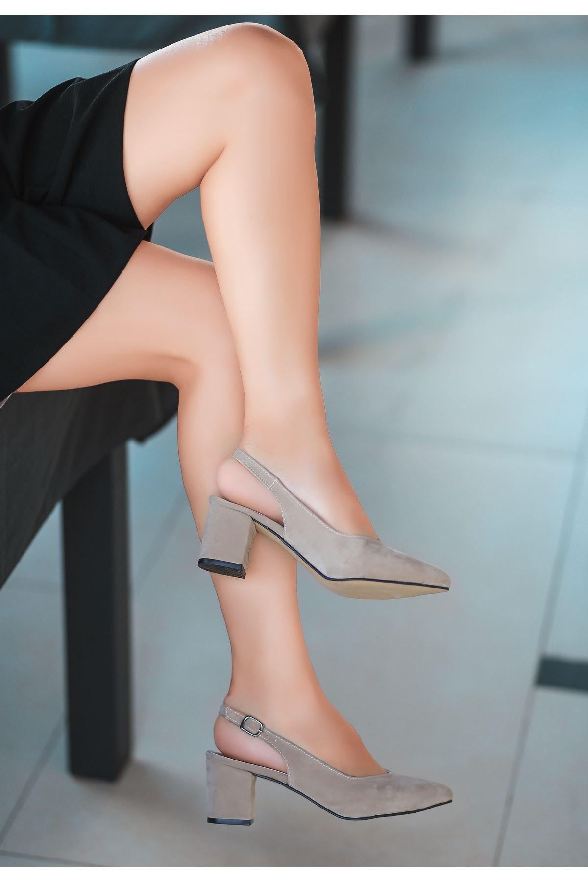 Ziko Vizon Süet Topuklu Ayakkabı