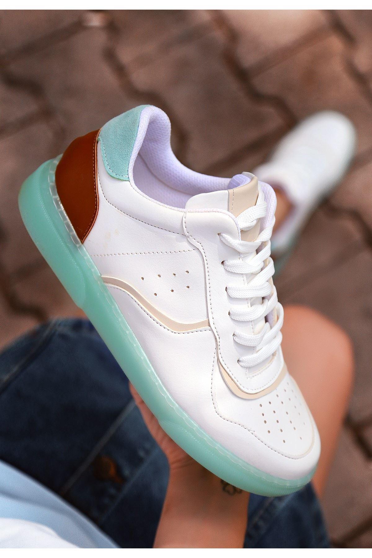 Niko Beyaz Cilt Bağcıklı Spor Ayakkabı