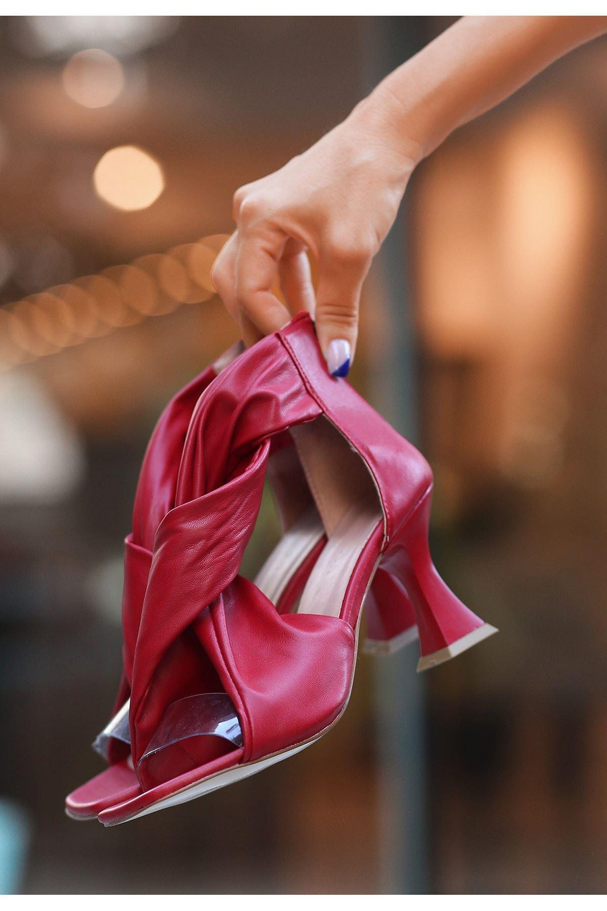 Myem Kırmızı Cilt Topuklu Ayakkabı