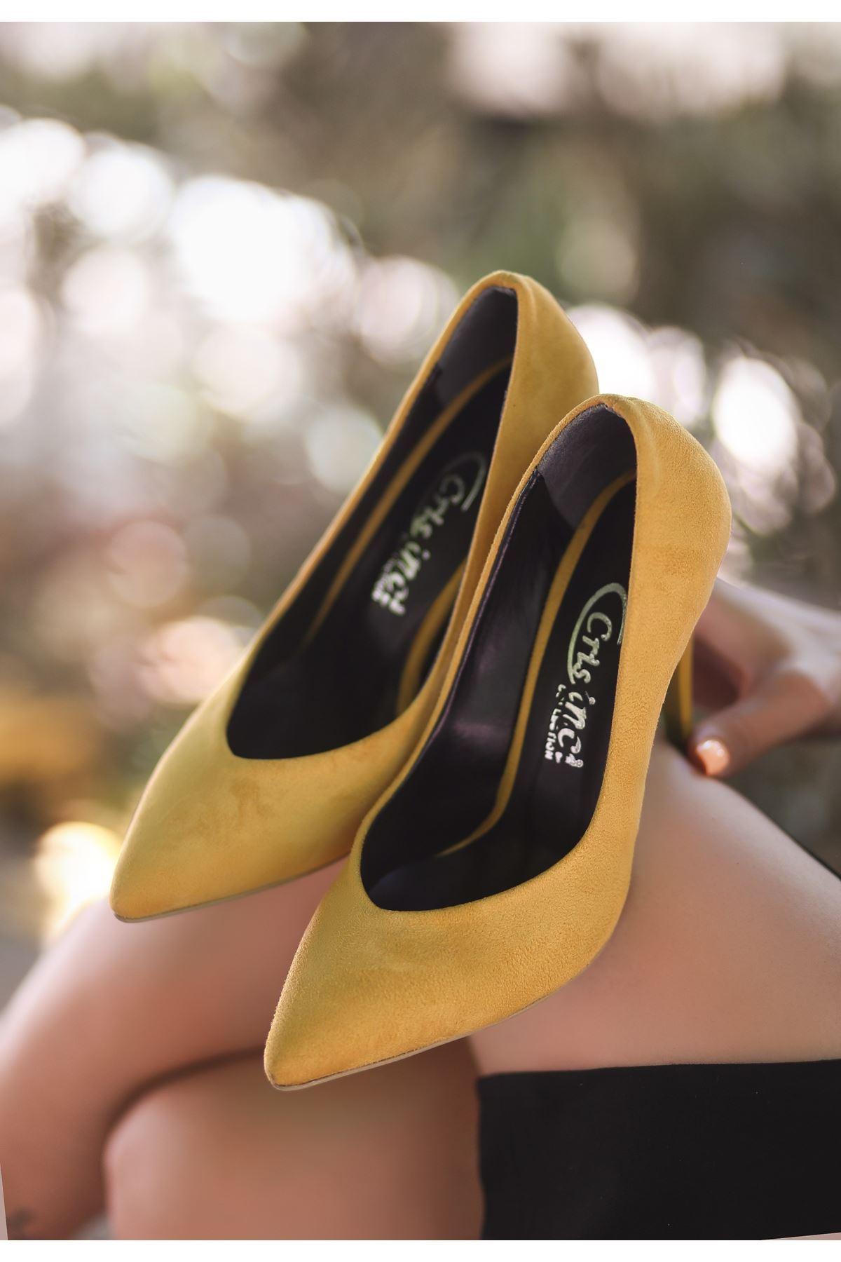 Nocix Hardal Süet Stiletto Ayakkabı