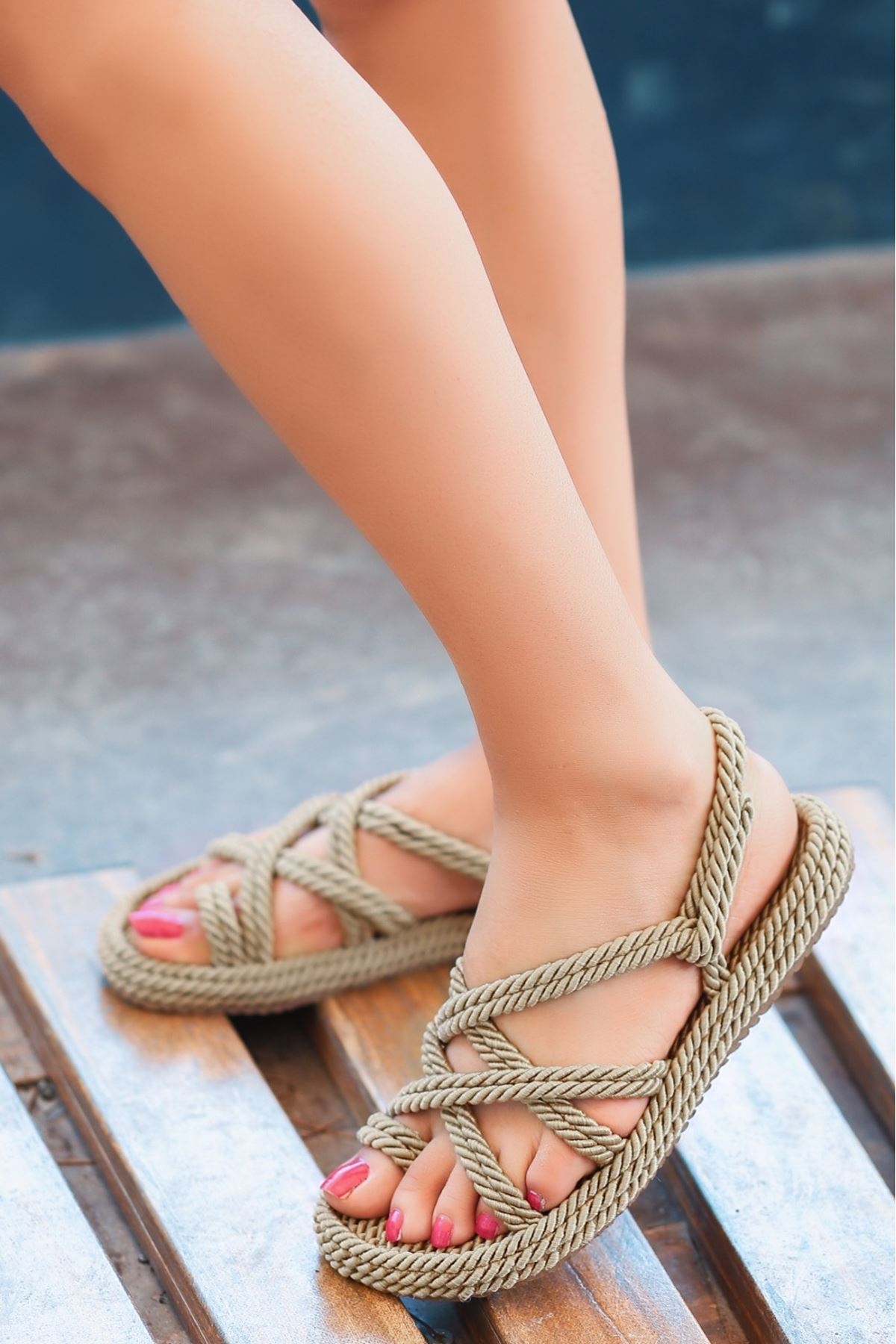 Nala Roz Halatli Sandalet
