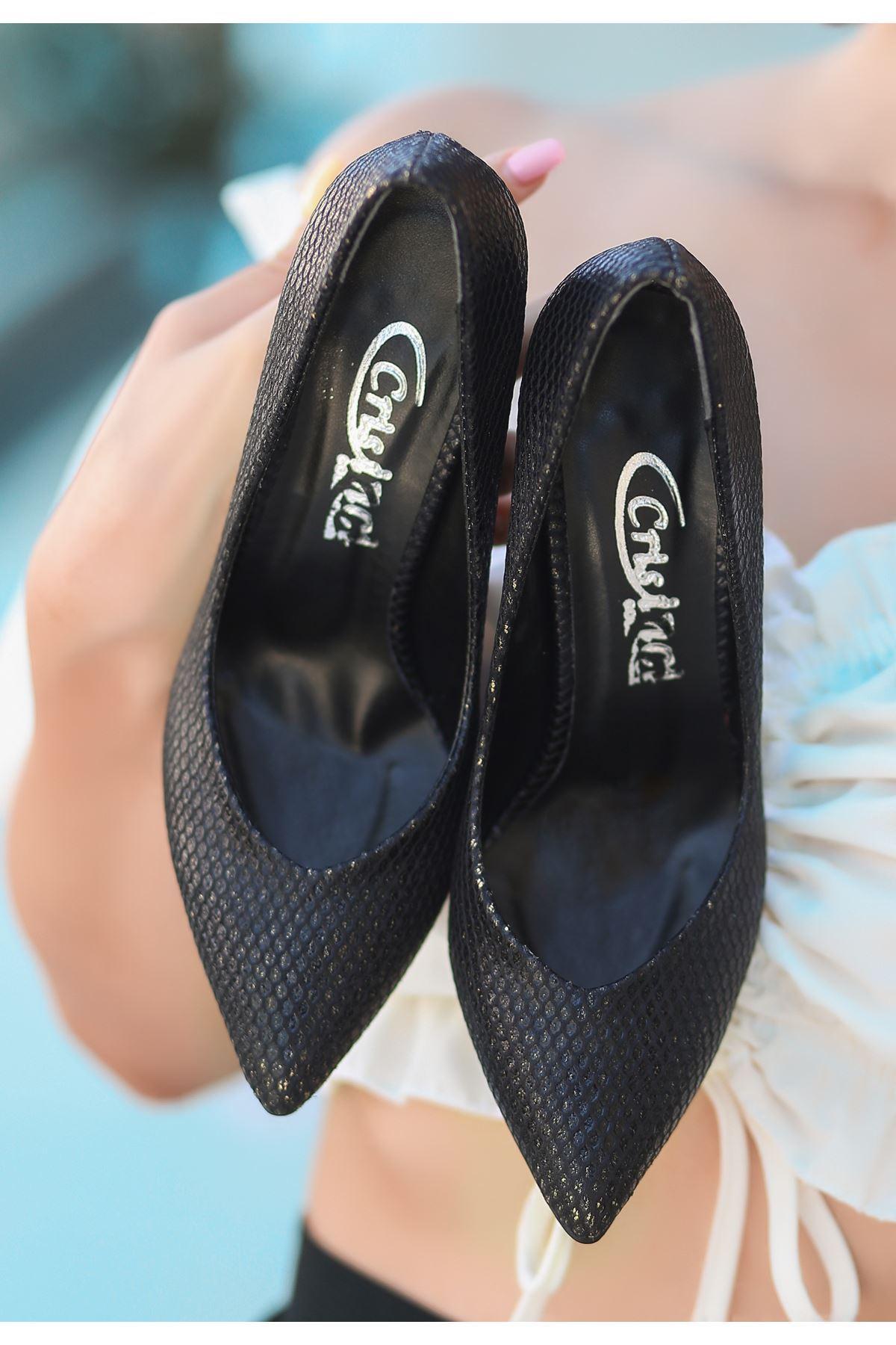 Nocix Siyah Cilt Desenli Stiletto Ayakkabı