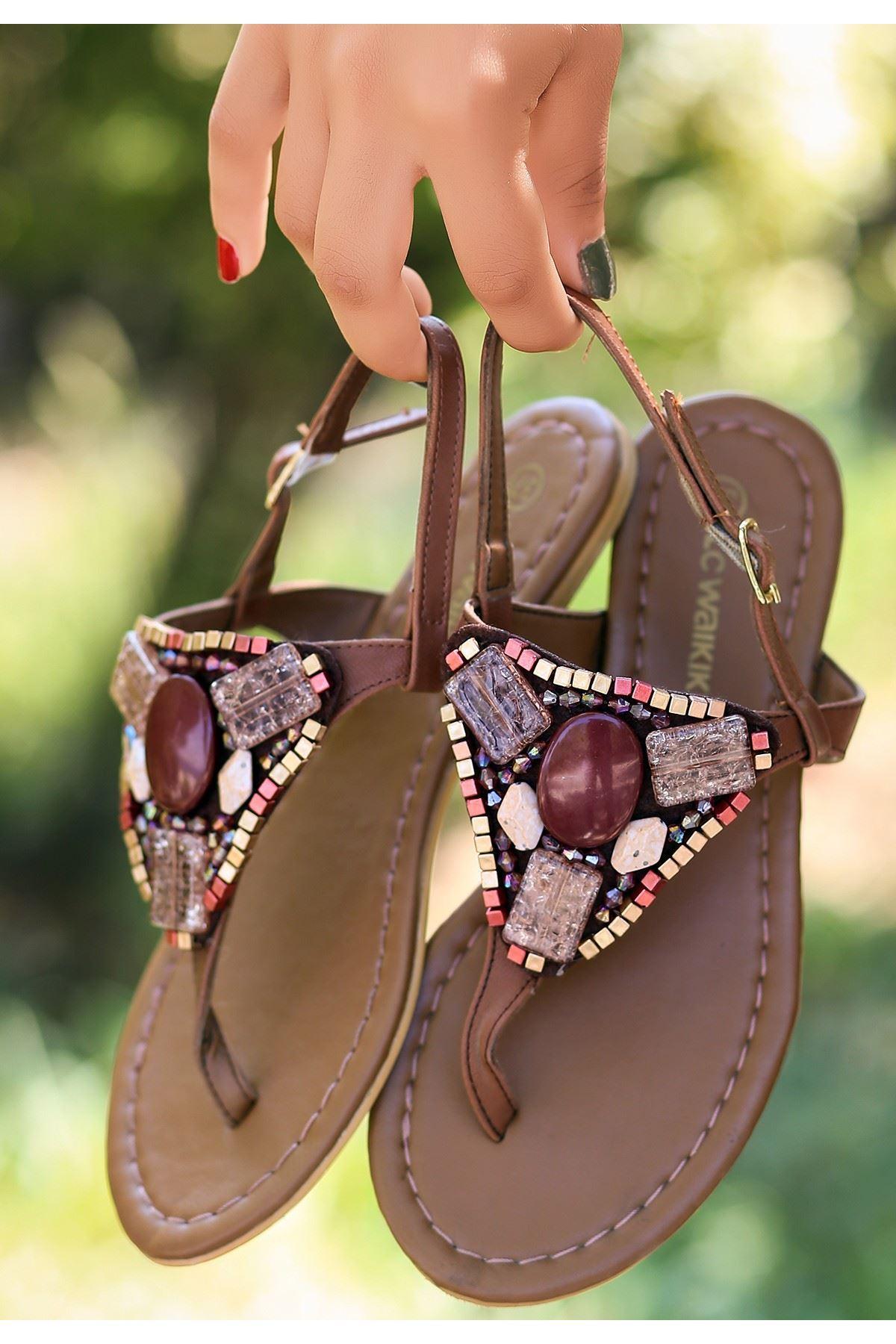 Coni Taba Cilt Boncuk İşlemeli Sandalet