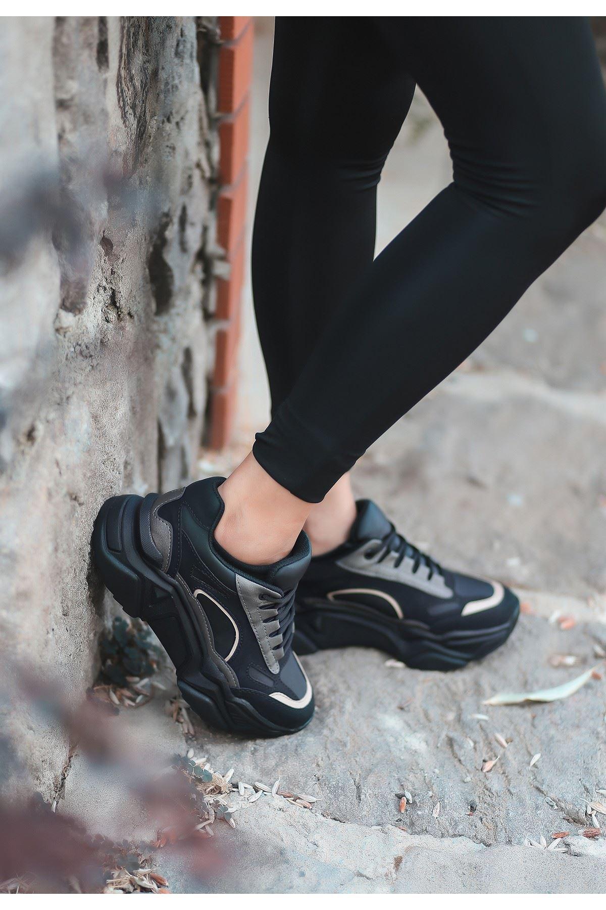 Zend Siyah Nubuk Platin Detaylı Spor Ayakkabı