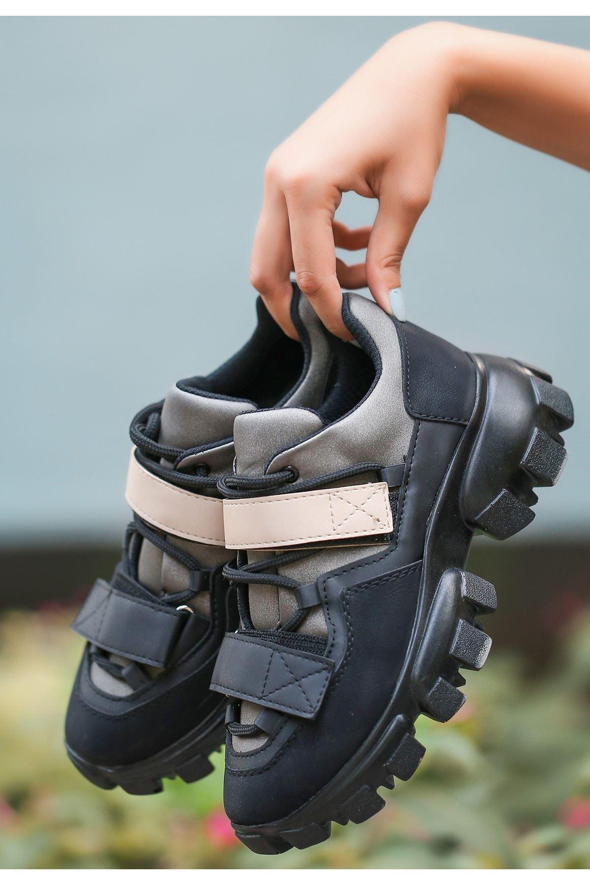 Bend Siyah Nubuk Siyah Detaylı Spor Ayakkabı