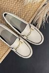 Soho Bej Deri Tokalı Rok Babet Ayakkabı